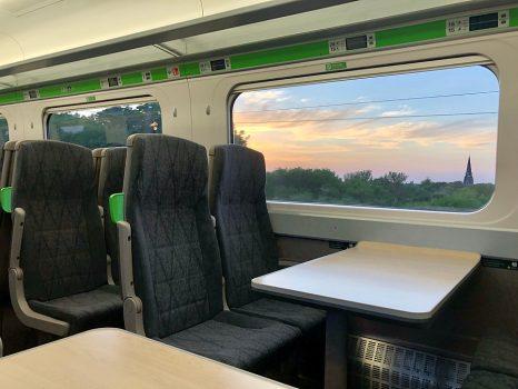 LONDON - JUNE 23, 2020: Unoccupied seats inside an empty passeng